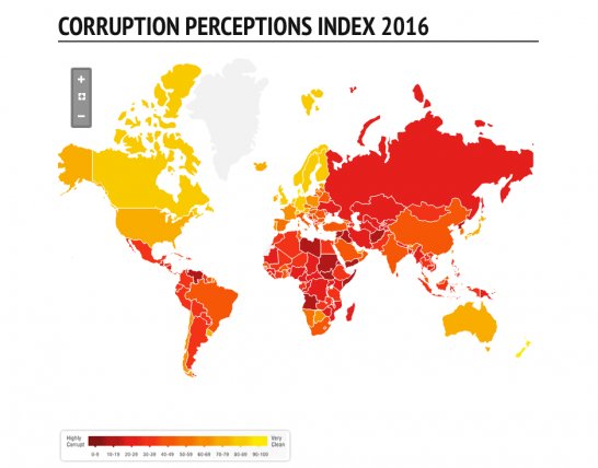 2016年世界の汚職ランキング