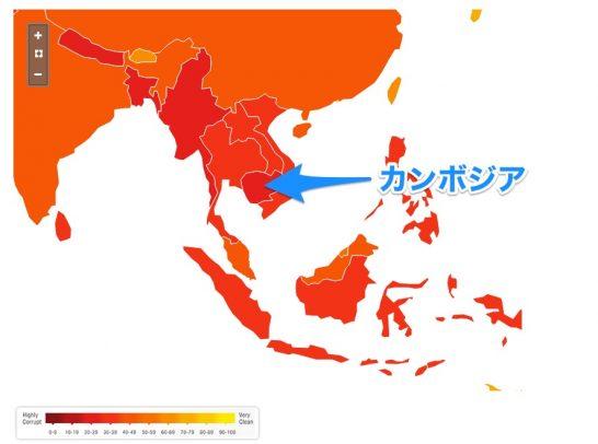 カンボジアは汚職が酷い国なので地図が真っ赤