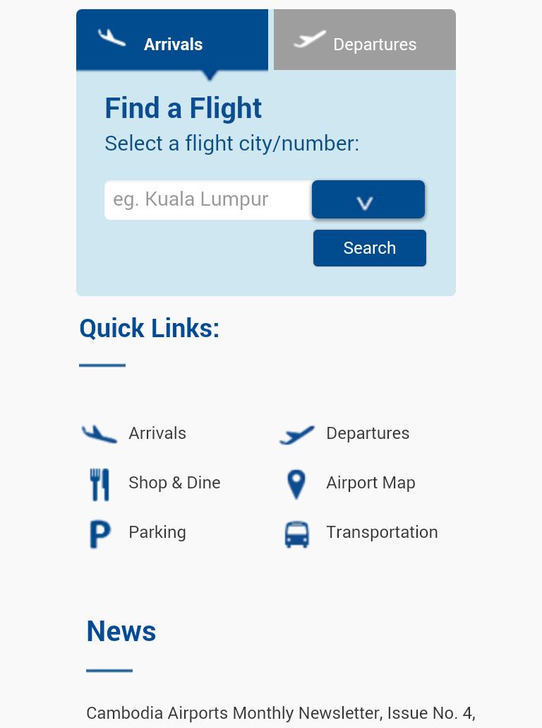 インターネットに繋がると空港のサイトが表示されます。