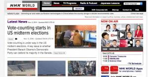 NHK WORLD。右上のNOW ON AIRで今放送さsれている番組を見ることができます。