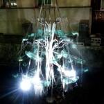 高瀬川で発見したアート作品。音と光がとても幻想的でした。