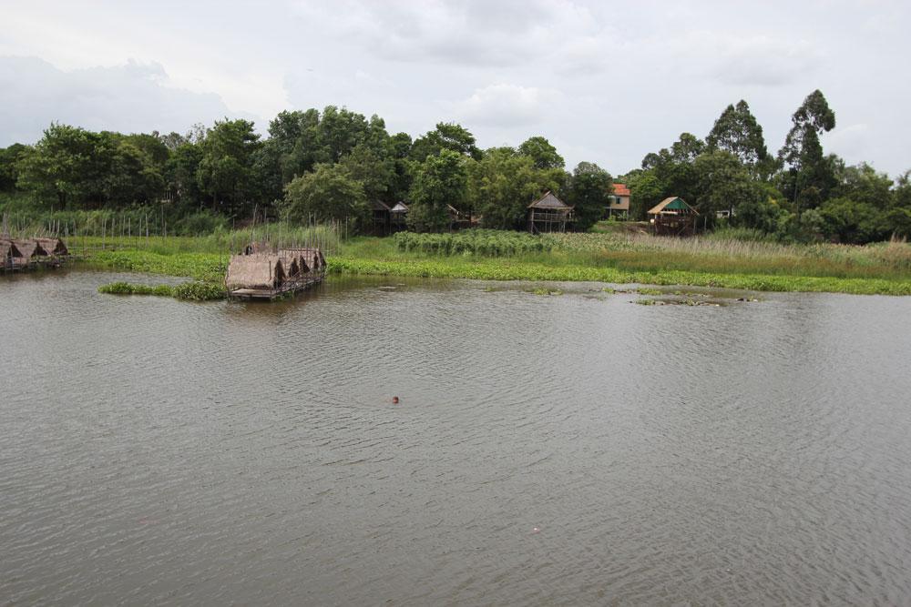 目の前の川。たまに子どもが泳いでます。