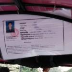 トゥクトゥクに掲示されていたライセンス。