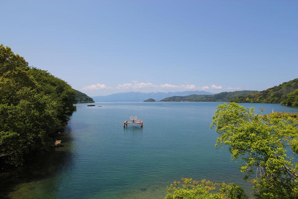 駐車場から堀切港への道中に見える琵琶湖。