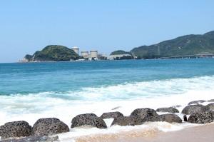 水晶浜から美原原発を望む。