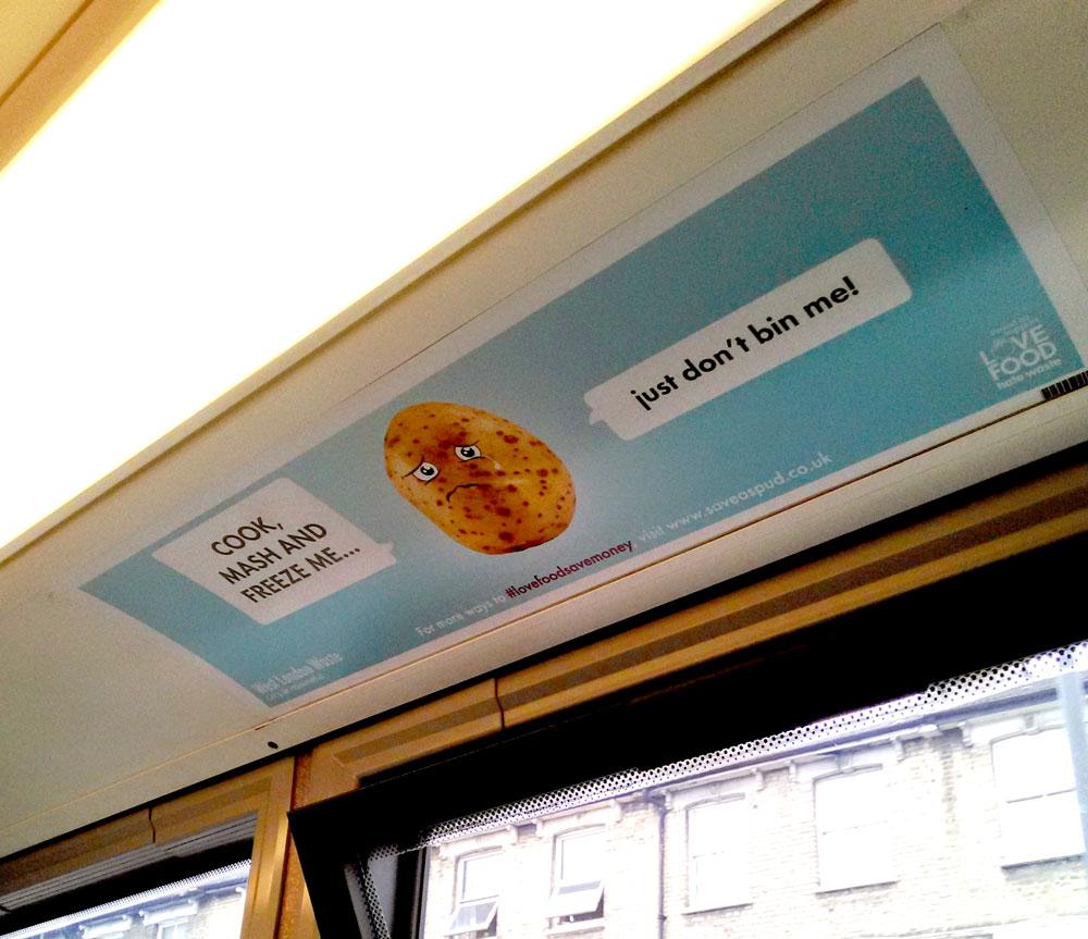 バスで見かけたじゃがいもを捨てないようにしようという広告。
