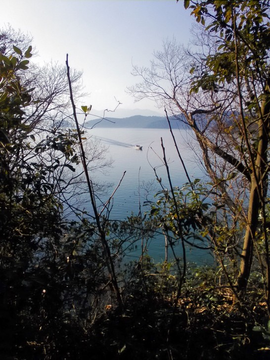 眼下に広がる琵琶湖と奥に見える沖島