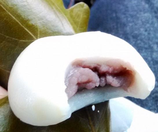 青木松風庵の柏餅。中はこしあん。