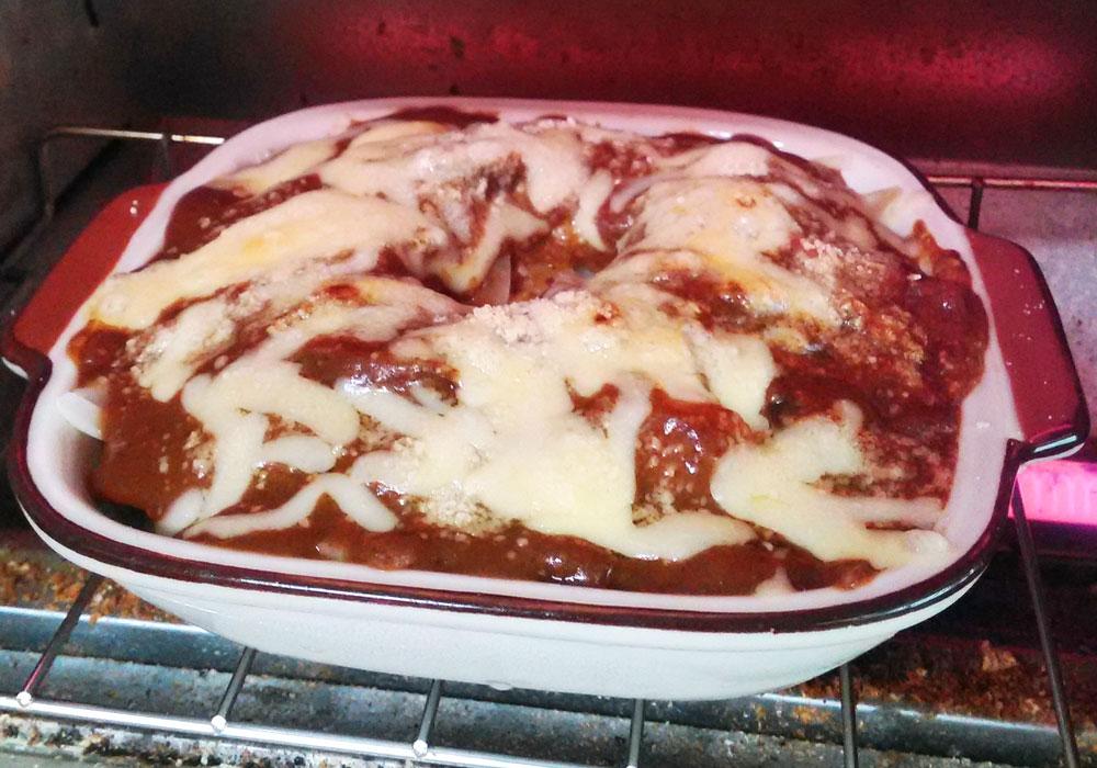 オーブントースターで7〜10分ほど焼く