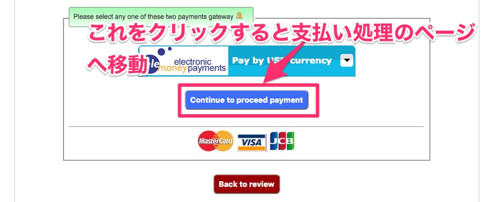 Continue to proceed paymentボタンをクリックする