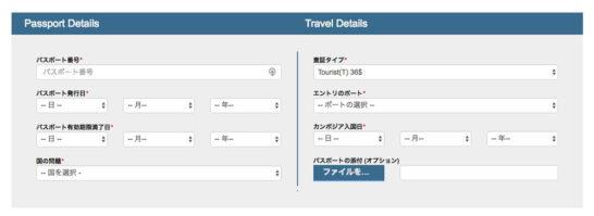 パスポート情報と旅行情報の入力