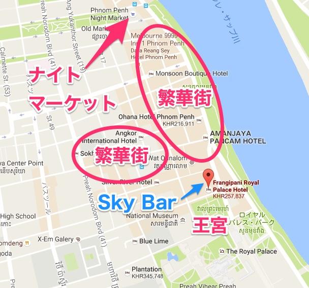 プノンペンのリバーサイドの地図