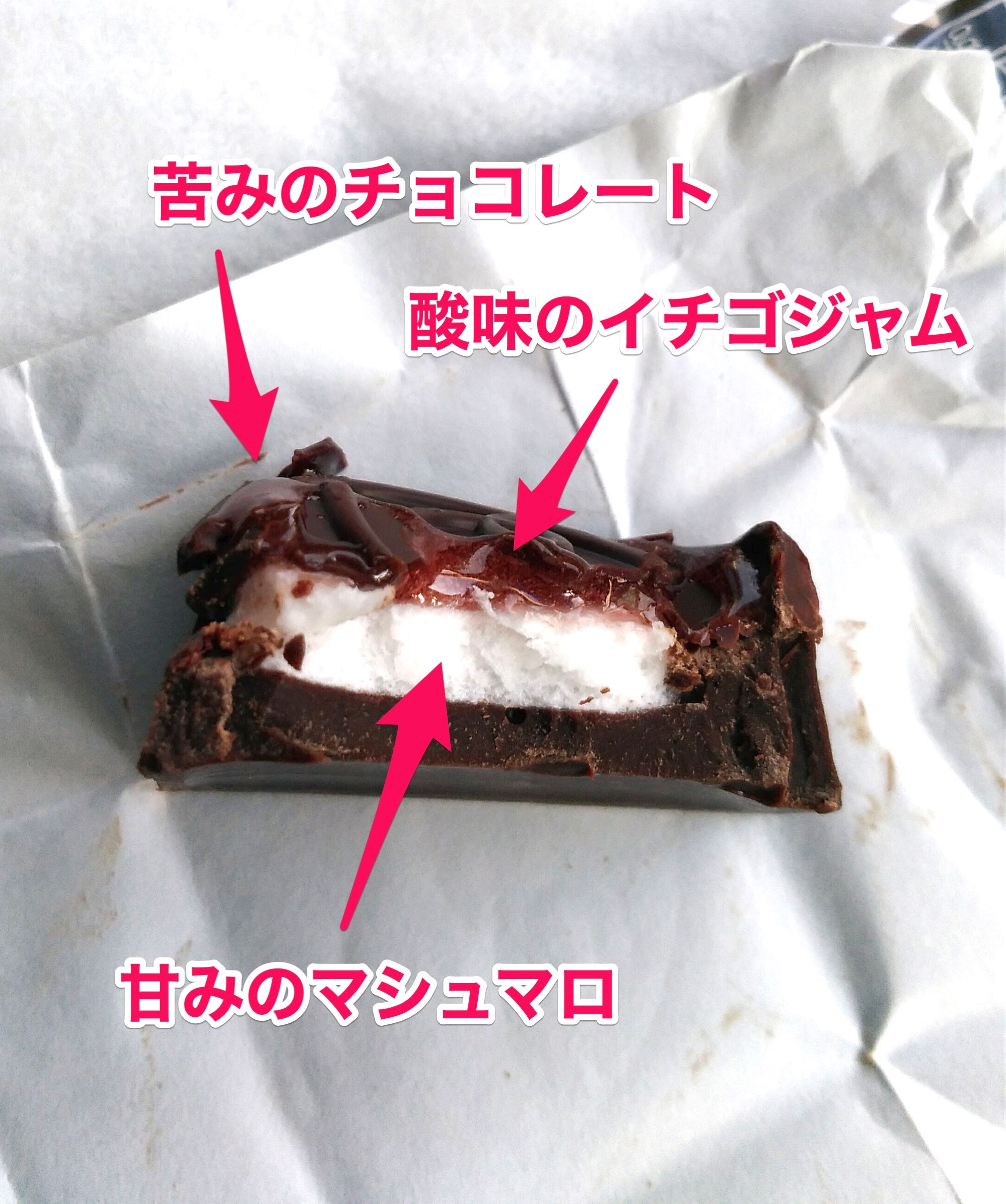 チョコレート、イチゴジャム、マシュマロが絶妙にマッチする