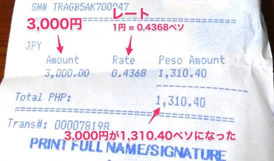 日本円をペソに両替した時のレシート