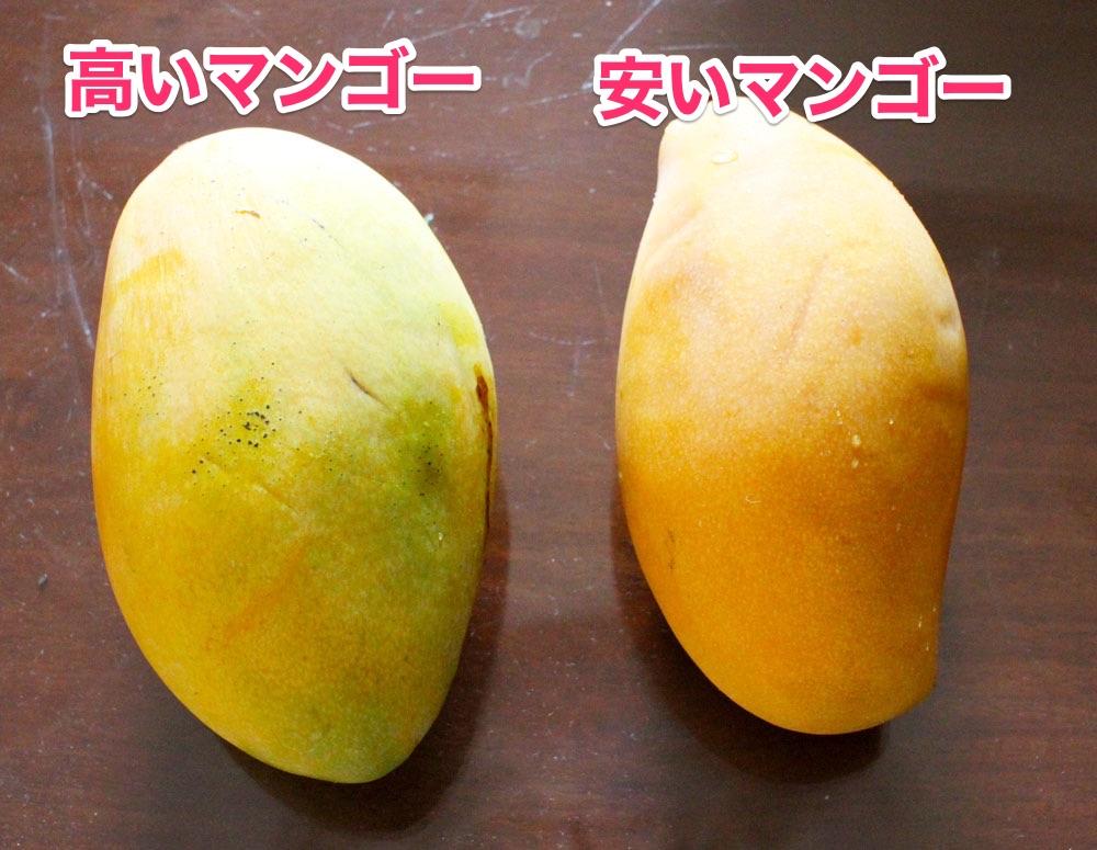 高いマンゴーと安いマンゴー