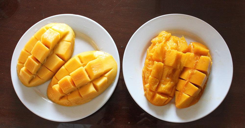 高いマンゴーと安いマンゴーを並べる