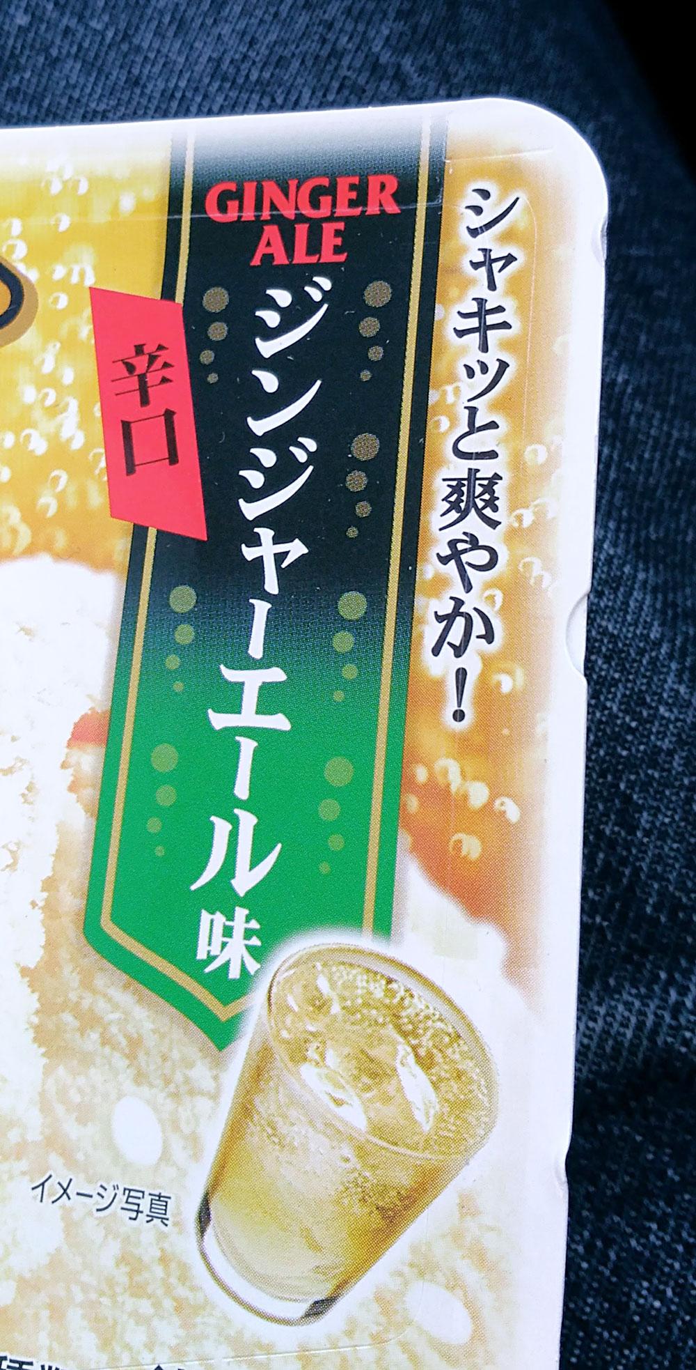 辛口ジンジャーエール味と書かれたパッケージ