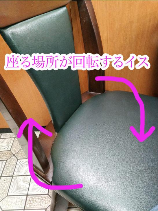 座る場所が回転するイス