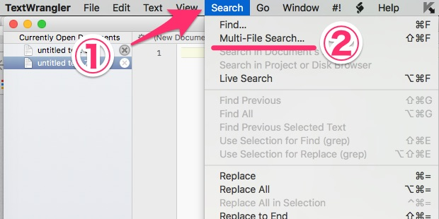 Search、Multi-File Searchの順に選ぶ