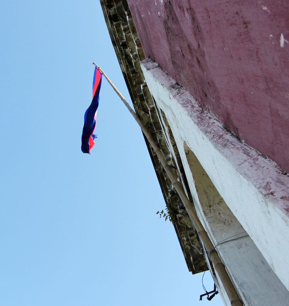 フランス監視台の頂上に掲げられたカンボジア国旗