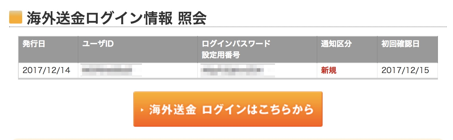 海外送金用ログイン情報紹介画面