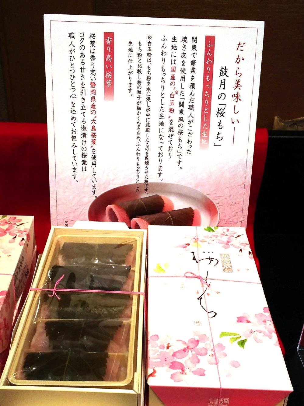 鼓月・桜餅の説明書き