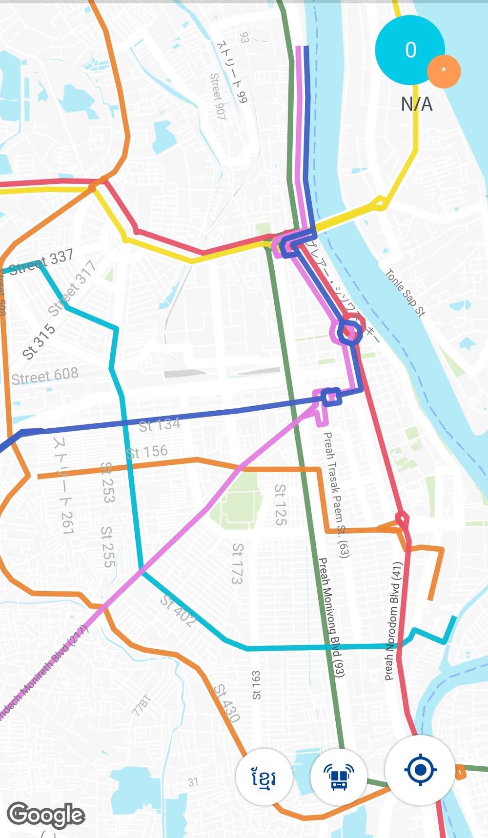 最新の路線図が表示されるアプリ「Stops Near Me Phnom Penh Bus」