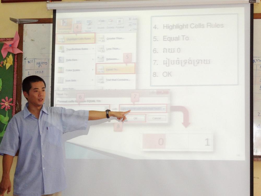 カンボジアの学校での授業風景