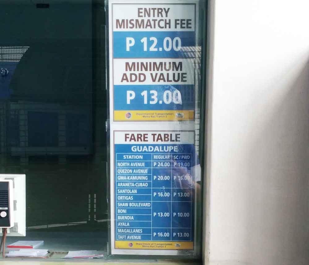 MRT-3の乗車料金表