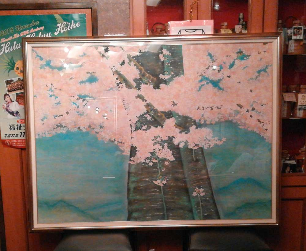 マスターの描いた桜の絵
