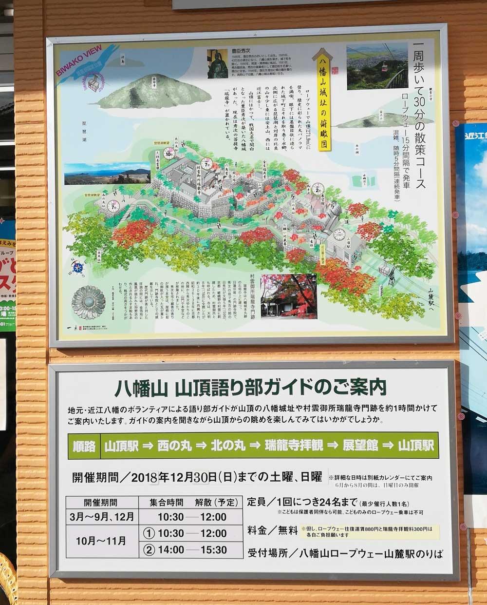 八幡山山頂の案内板