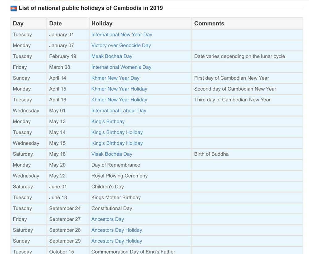 カンボジアの祝日一覧