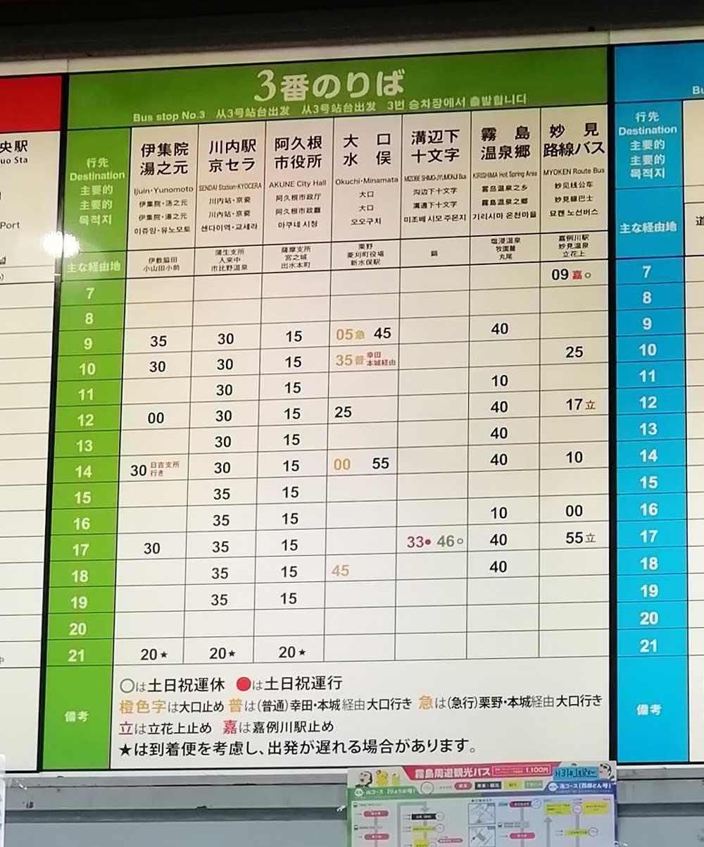出水行きバスの時刻表