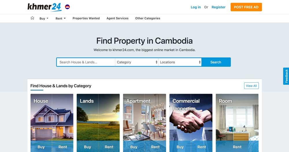 Khmer24のお部屋探しページ