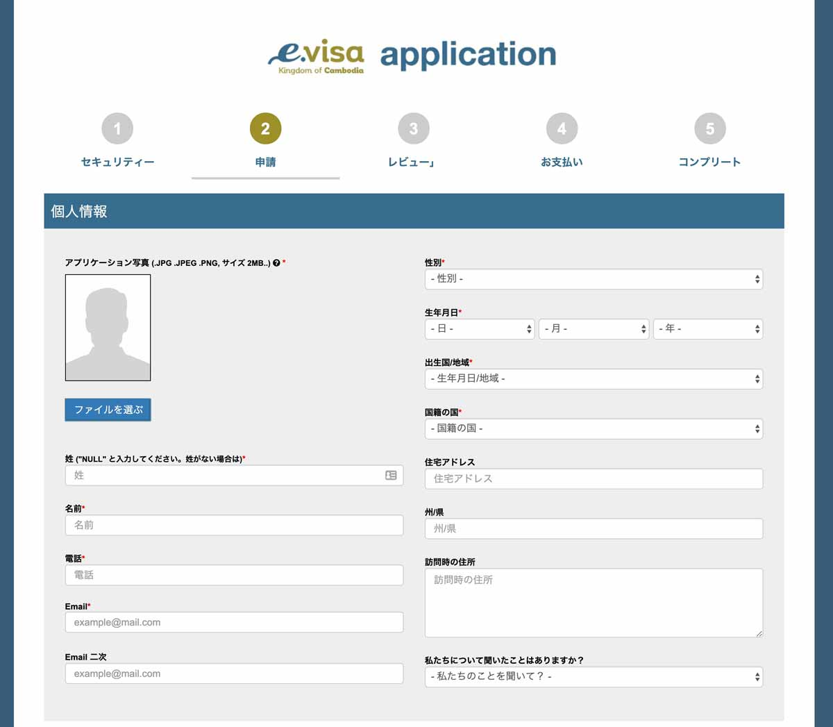 E-VISAの個人情報入力