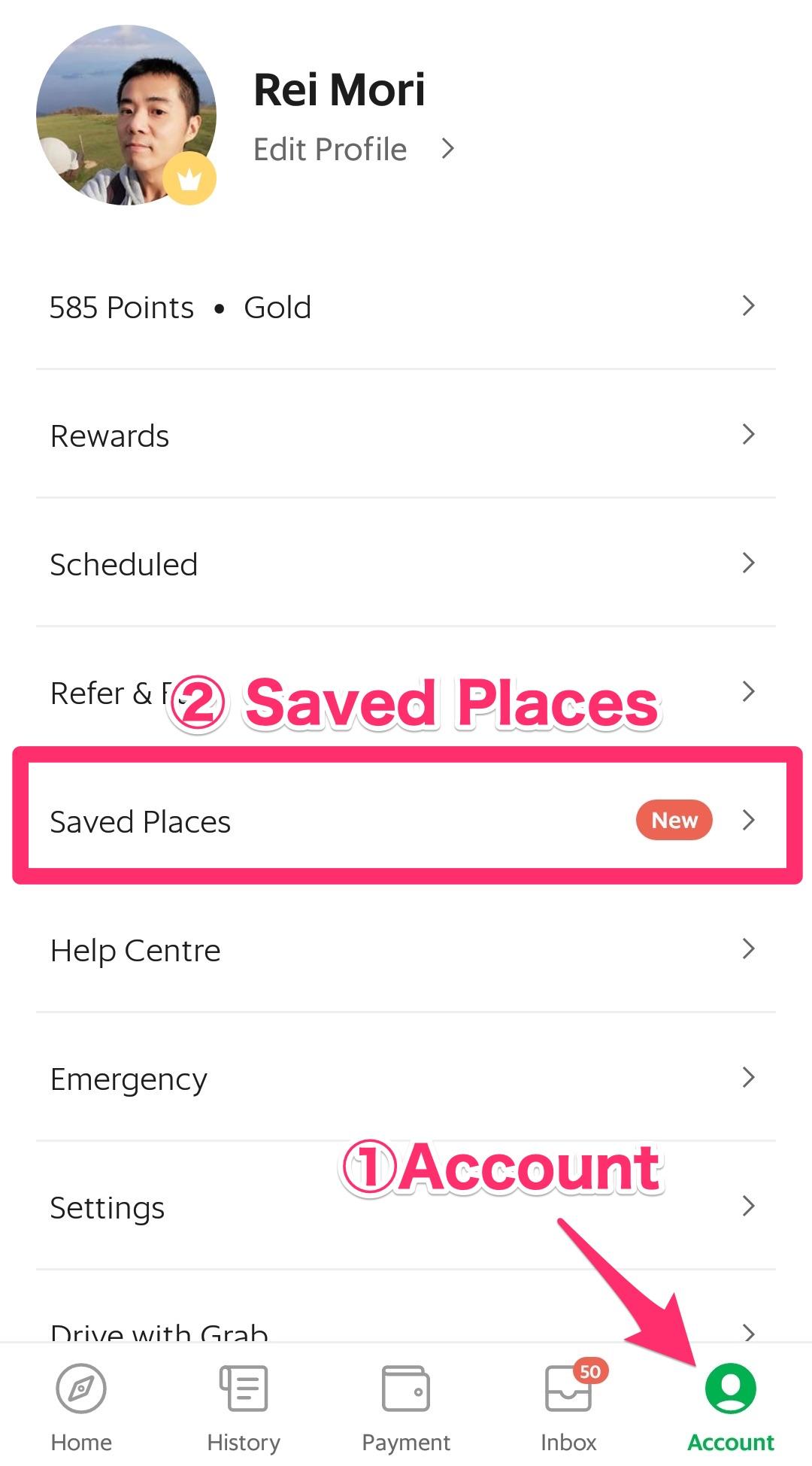 アカウント→Saved Placesを選ぶ