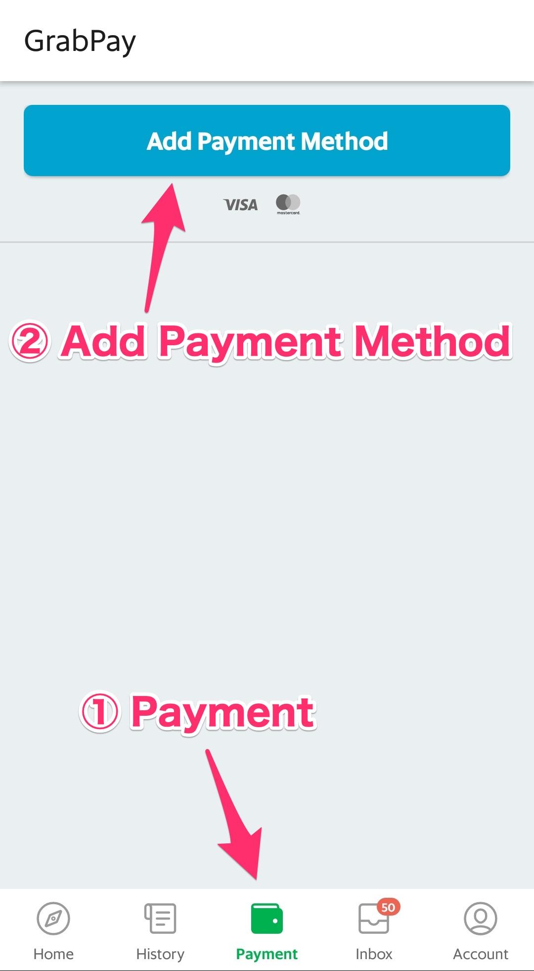 「Payment」から「Add Payment Method」をタップ