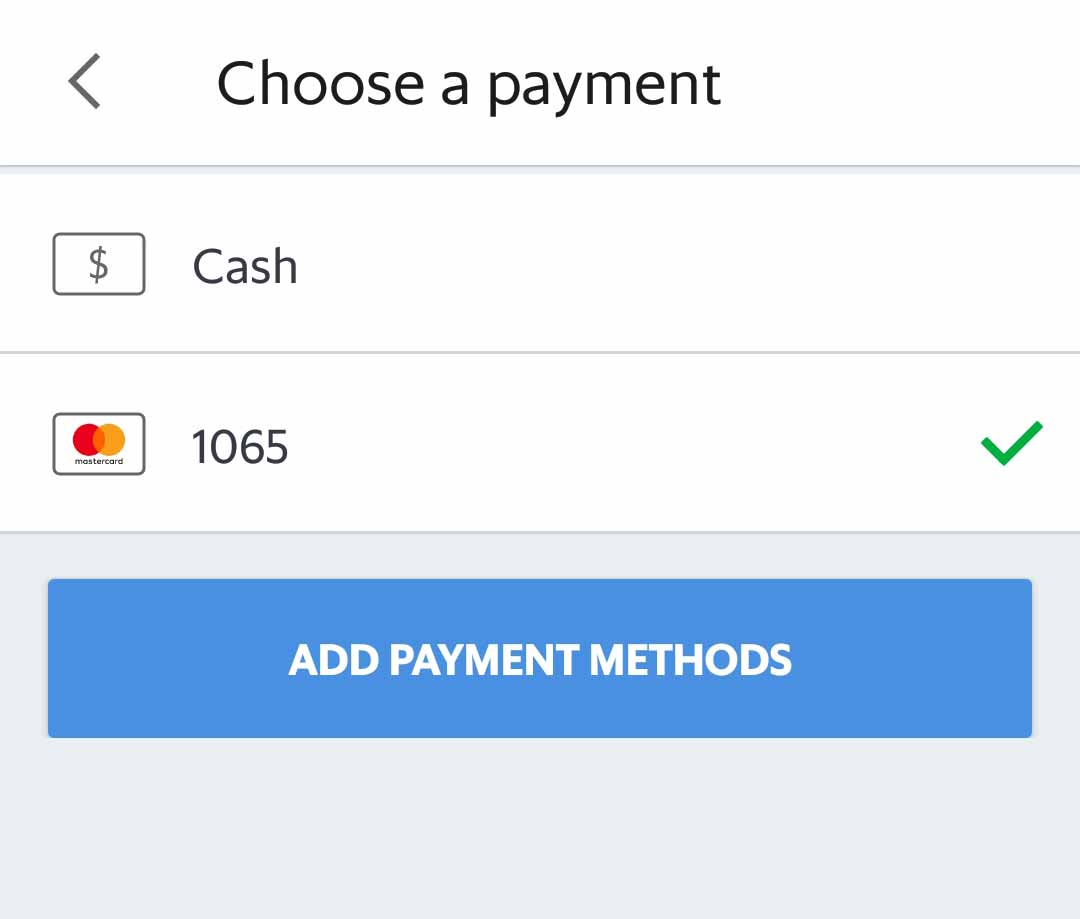 Grabの支払い方法選択画面