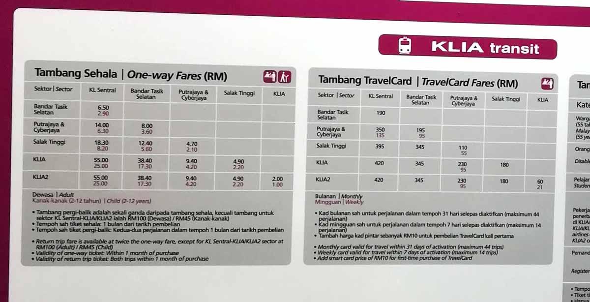 KLIA transitの料金表