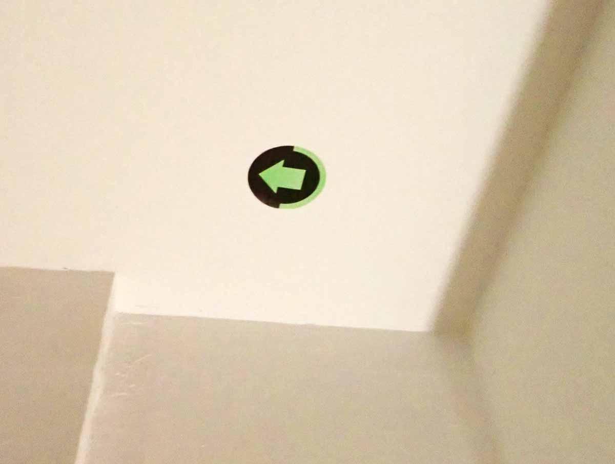 天井のはメッカの方向が記されている