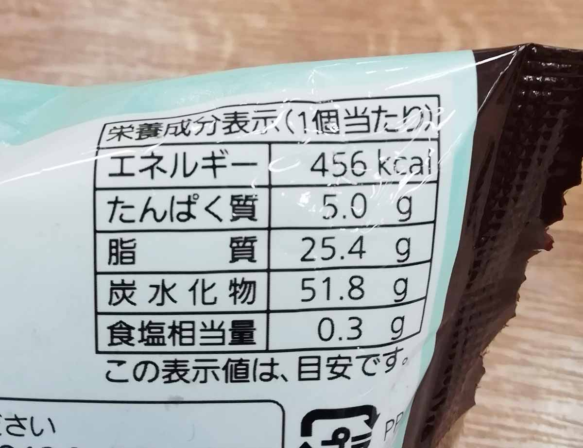 チョコミントタルトの栄養成分表示