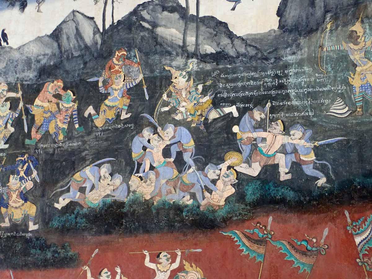 カンボジアの歴史を描いた壁画