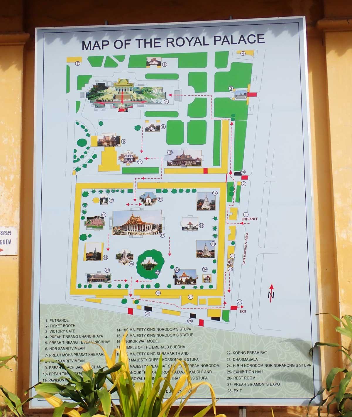 王宮とSIlver Pagodaの地図