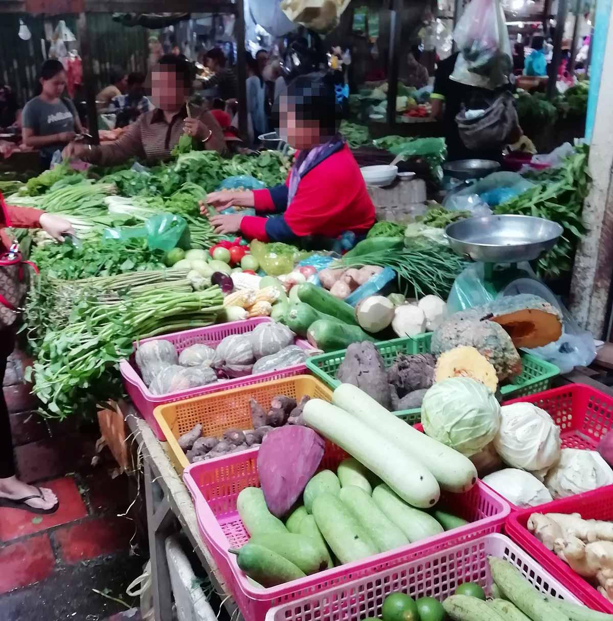 新鮮な野菜が並ぶ