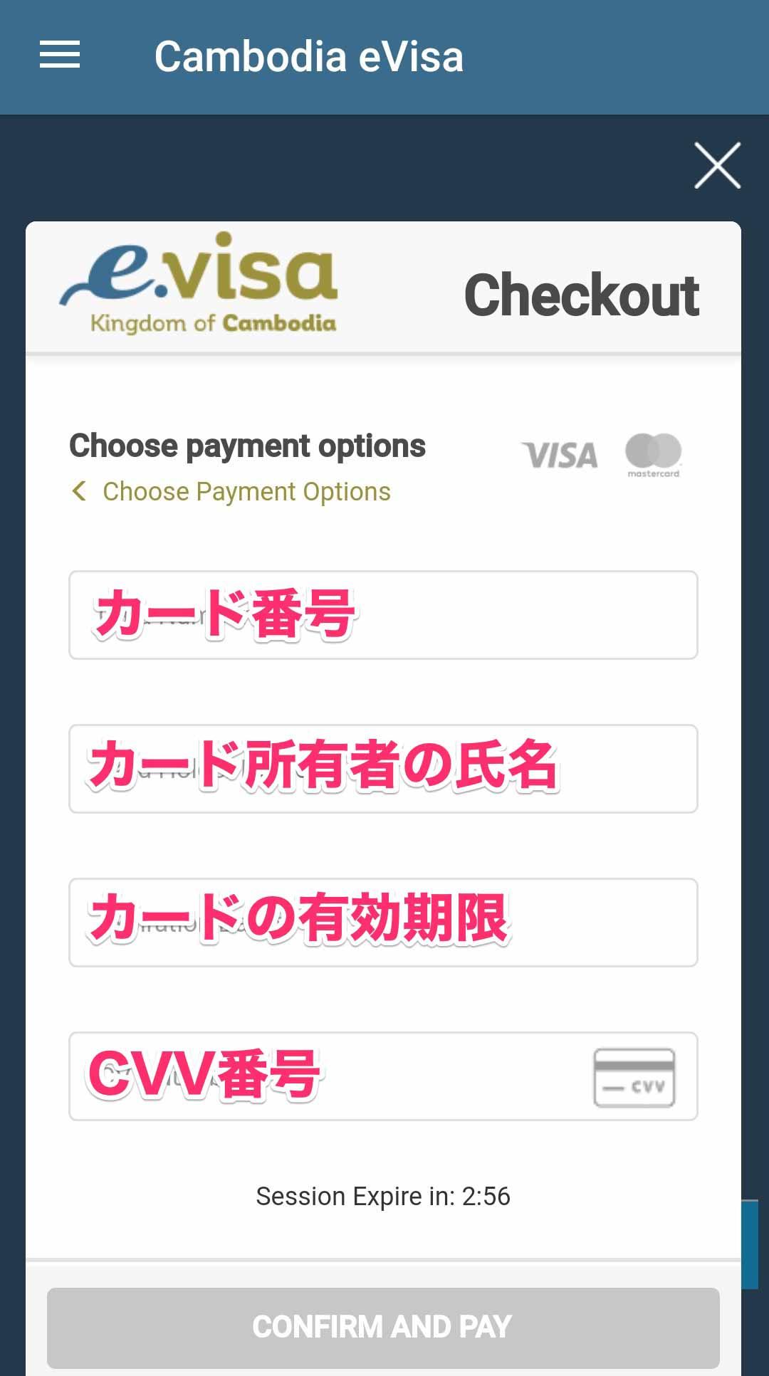 クレジットカードの情報を入力する画面