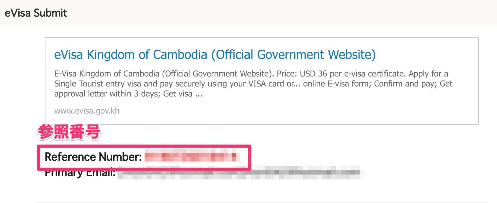 e-Visa受付完了メール