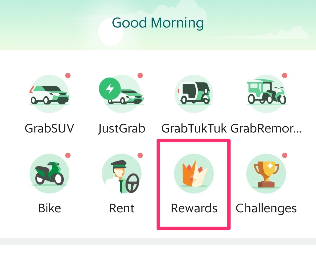 Rewardsをタップ