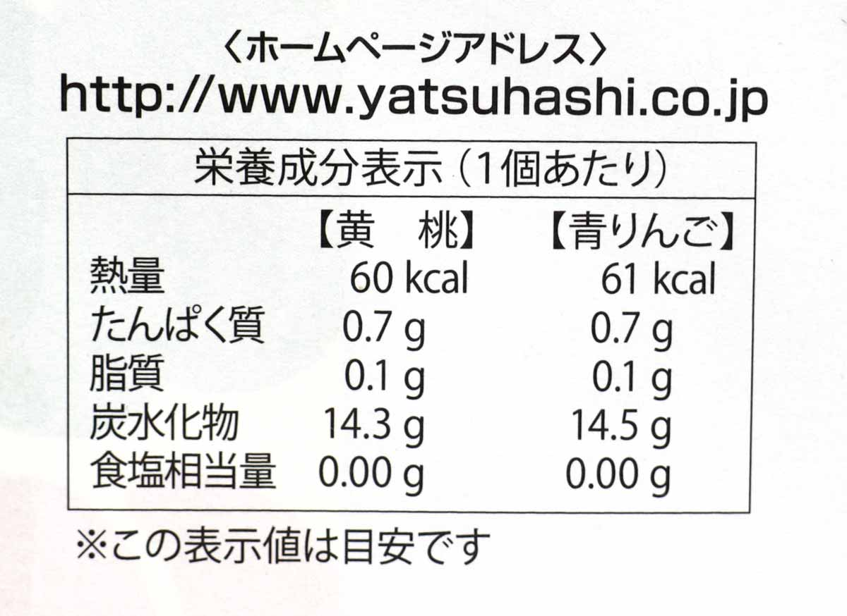 夕子(青りんご・黄桃)の栄養成分表示