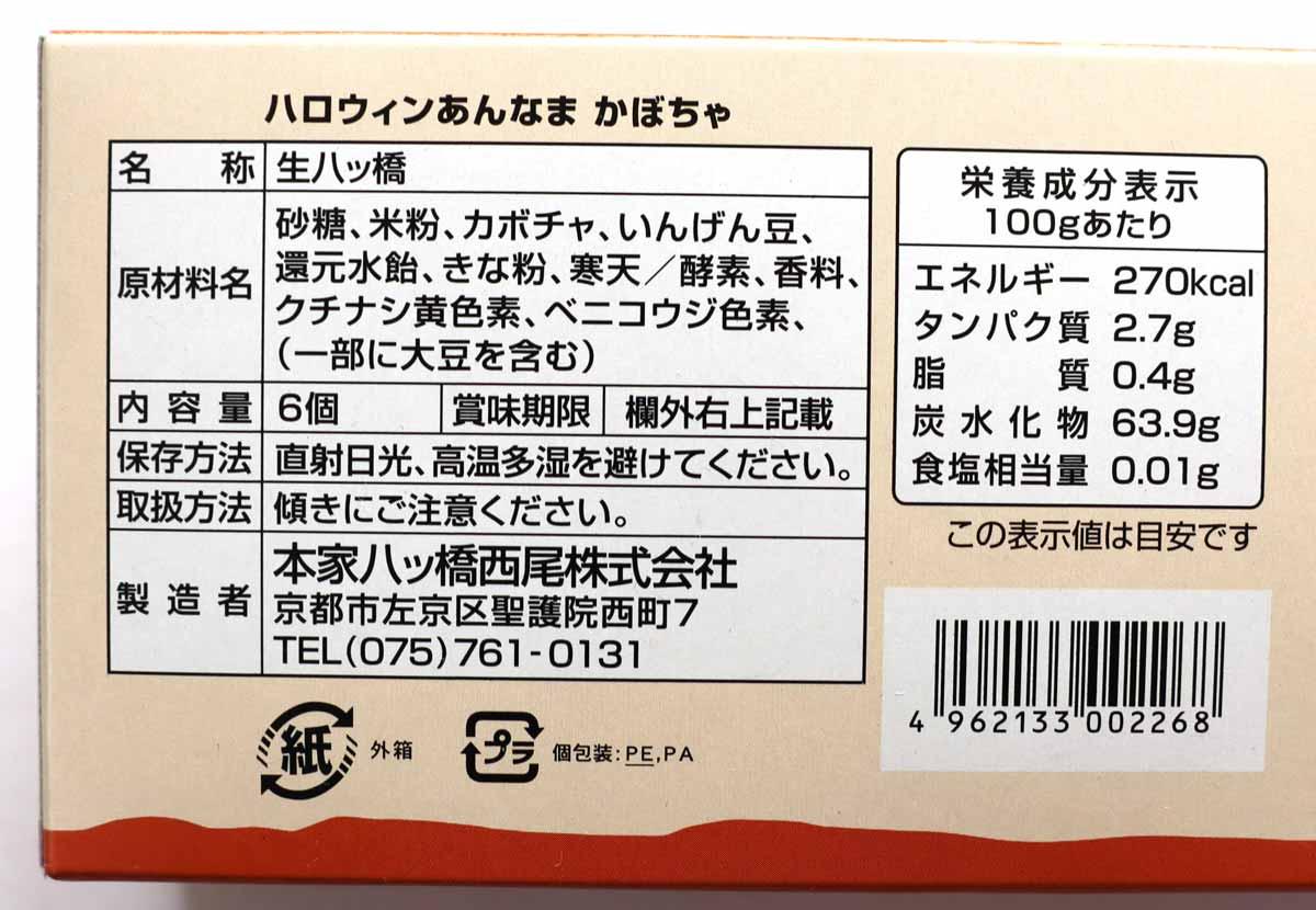 あんなま(かぼちゃ)の食品表示