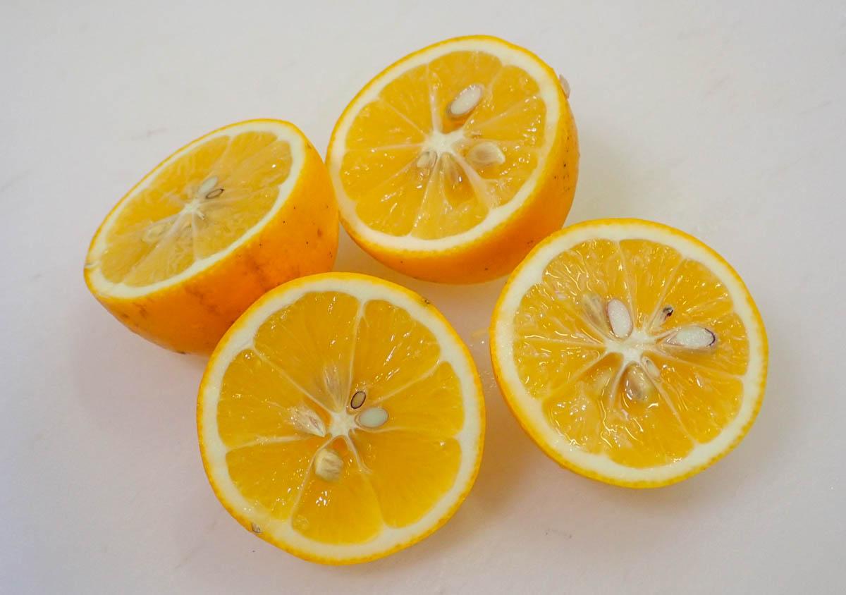 レモンを半分に切る